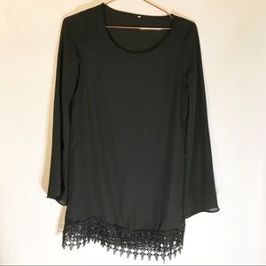 Black tunic with crochet detail at bottom